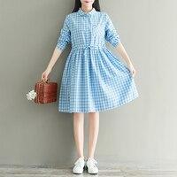 Autumn New Japanese Single Breasted Long Sleeved Shirt Dress