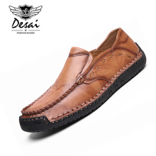 DESAI Men's Casual Shoes Genuine Leather Luxury Brand Mens Loafers Moccasins Breathable Slip on Driving Shoes Men Big Size 38-48 цена