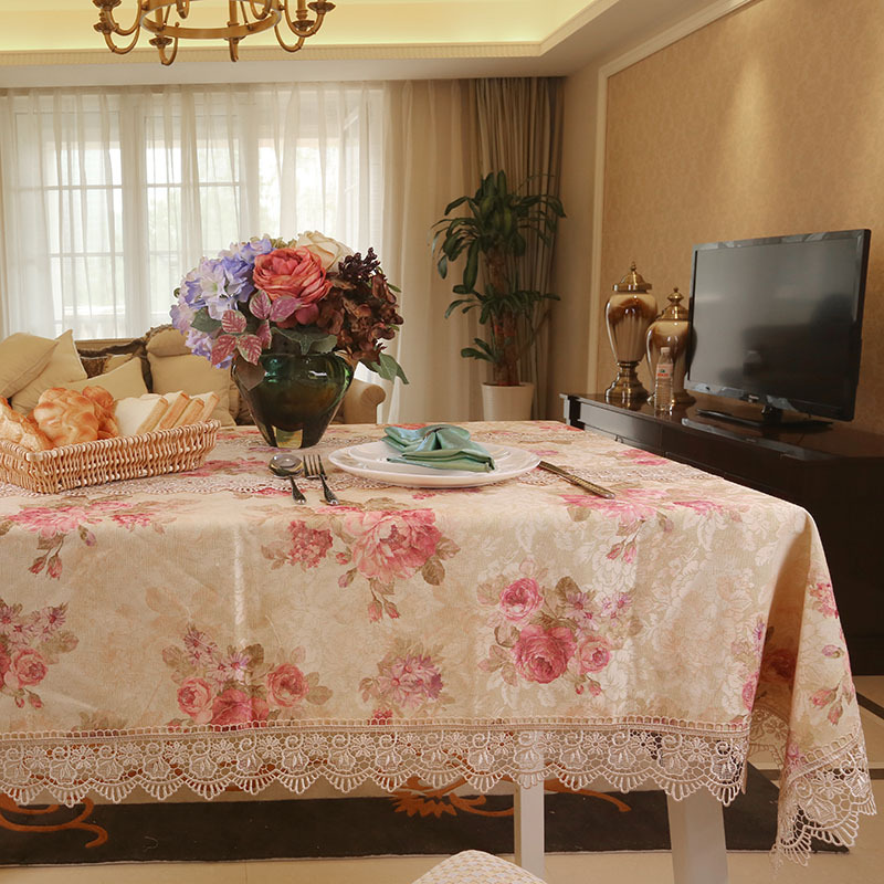 buy elegant pink rose print dining table cloths
