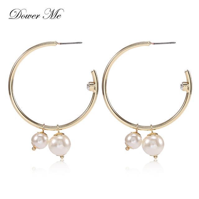 Dower Me Gold Hoop Earrings Trendy Fashion Large Circle Push Back Hooped For