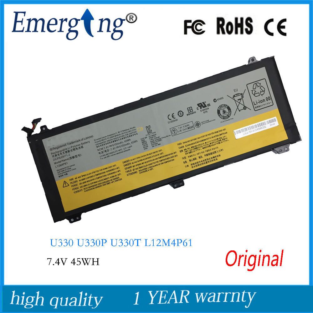 7.4V 45WH New Original Laptop Battery for Lenovo U330 U330P U330T Series L12M4P61 7 4v 45wh original new u330 laptop battery for lenovo ideapad u330 u330p u330t series l12m4p61 l12l4p63 21cp5 69 71 3