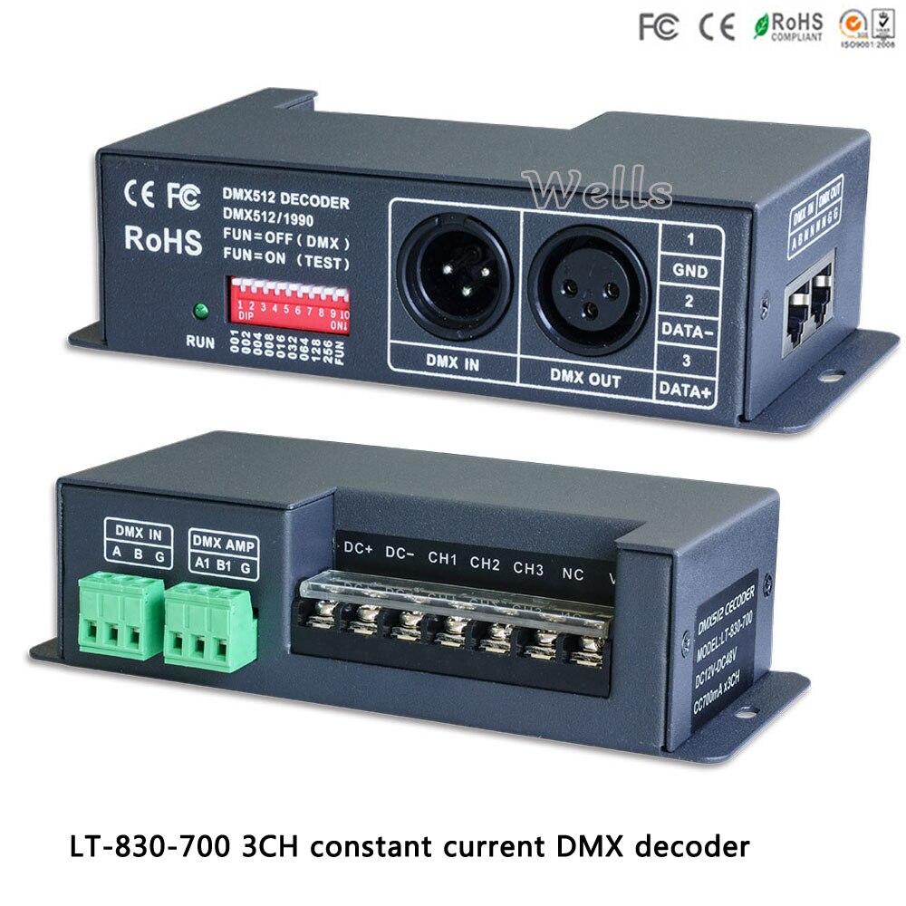 LTECH led RGB Controller LT-830-700 DMX/PWM 3CH CC decoder;DC12V-DC48V input;700mA CC*3CH output for led strip