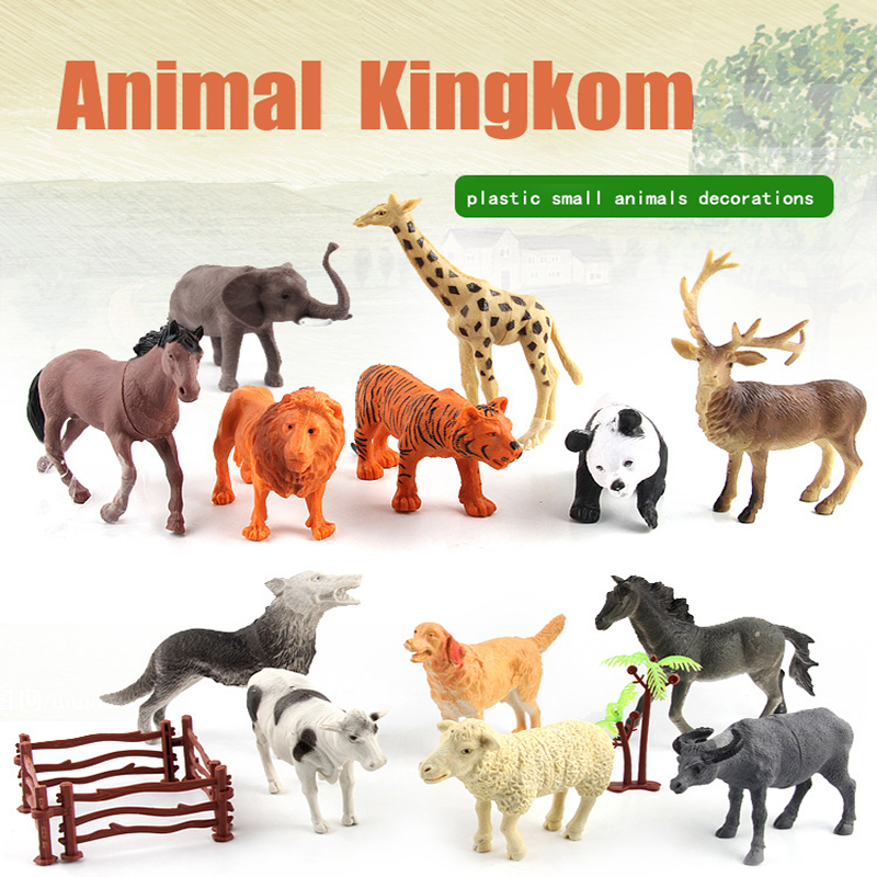 Animal Kingdom World 3-16 cm Many Kinds  Animal Doll Decorations Small Plastic Life Like Hand Model