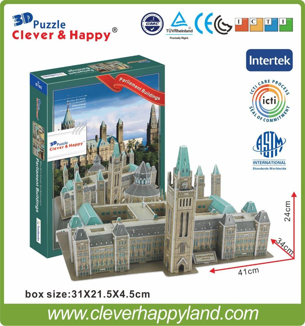 smart och lycklig 3d pusselmodell Kanada parlamentet bygga barn pedagogiska leksaker vuxna pussel modell spel för barn