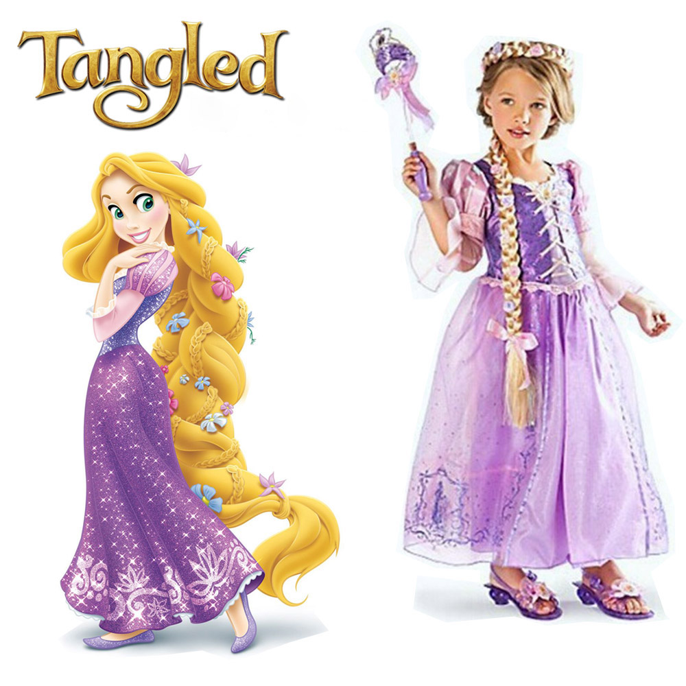 Baby Girls Rapunzel Dress Kids Tangled Cosutme Princess Rapunzel Cosplay Girl's Purple Dress Party Halloween Costume For Girl