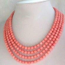 Бесплатно shupping J0035 мода ювелирные изделия 4 Strands розовый коралловый ожерелье
