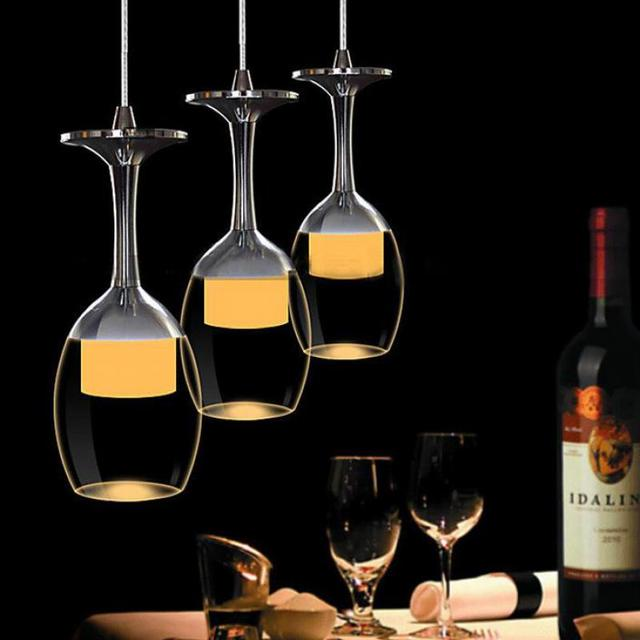 Indoor Led wine cup pendant lights for Kitchen showcase 3-6 pcs modern LED Suspension Luminaire Dining Room lamp lustre lighting