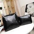 2PCS Women Bags 2016 New Fashion Women Crocodile Grain Shoulder Bag Female Ladies PU Leather Messenger Bags Handbags