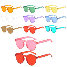 1Pcs New One Lens Candy Color Sunglasses Women Transparent Glasses Men Style Clear Eyewear Oculos De Sol
