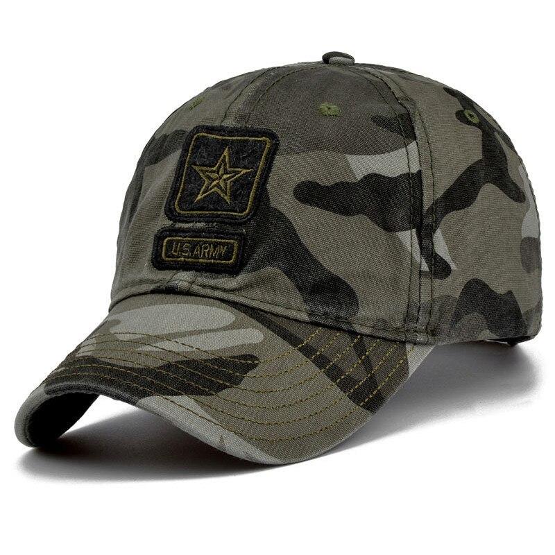 2019 New Men Pentagram Cap Top Quality U.S. Army Caps Men's Fishing Hat Camo Baseball Hats Bone Adjustable
