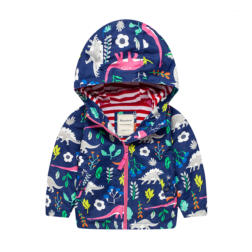 M07 Spring Autumn Fashion Cartoon Dinosaur print Thin Coat Child Thin Lining Jacket Hoodies Keep Warm Girls Coat Tops Outwear irene brand second chance at love