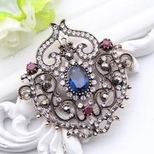 Vintage Women Turkish Flower Brooch Pin Resin Jewelry Rhinestone Brooches Broches Arabia Paisley Pattern Lapel Hijab Pin Corsage