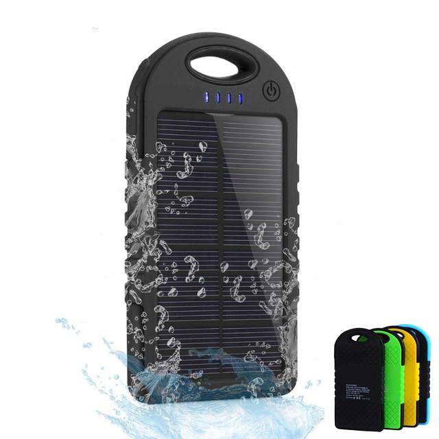 5000 mah solar power bank dual usb carregador de viagem ao ar livre portátil à prova d' água enternal bateria powerbank para iphone android telefone