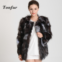 New Arrival Real Silver Fox Fur Coat Customize big size natural genuine fox fur jacket free shipping TBHP398