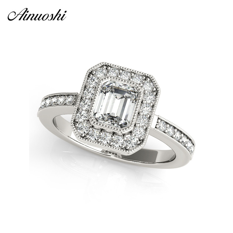 AINUOSHI 925 Sterling Silver Women Wedding Engagement Rings Halo 0.5ct Emeralded Cut Ring Aniversary Jewelry anillo de mujer ainuoshi trendy 925 sterling silver women wedding engagement ring halo 0 5ct emeralded cut ring aniversary gifts anillo de plata
