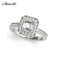 AINUOSHI 925 Sterling Silver Women Wedding Engagement Rings Halo 0.5ct Emeralded Cut Ring Aniversary Jewelry anillo de mujer