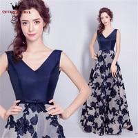 1ca22a35a6a6 QUEEN BRIDAL Evening Dresses A Line V Neck Flowers Satin Long Formal Prom  Party Dress Evening. RAINHA DE NOIVA Vestidos ...