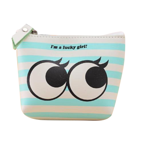 ASDS Women Girls Cute Zip Leather Coin Purse Wallet Bag Change Pouch Key Card Holder, Stripe Big eyes 2017 women girls cute fashion bear coin purse canvas wallet bag change pouch key card pocket holder new lovely zip mini small
