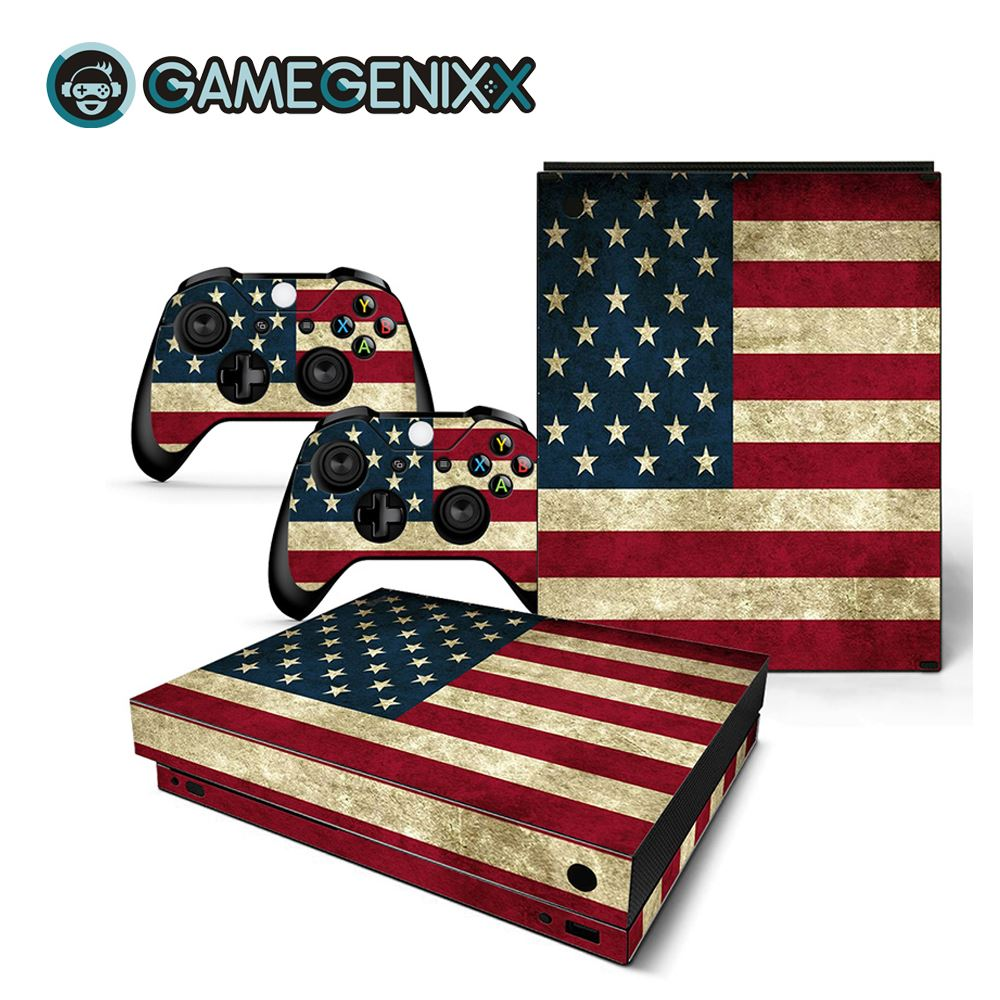 GAMEGENIXX Skin Sticker Protective Decal Cover Full Set for Xbox One X Console and 2 Controllers - American Flag(China)