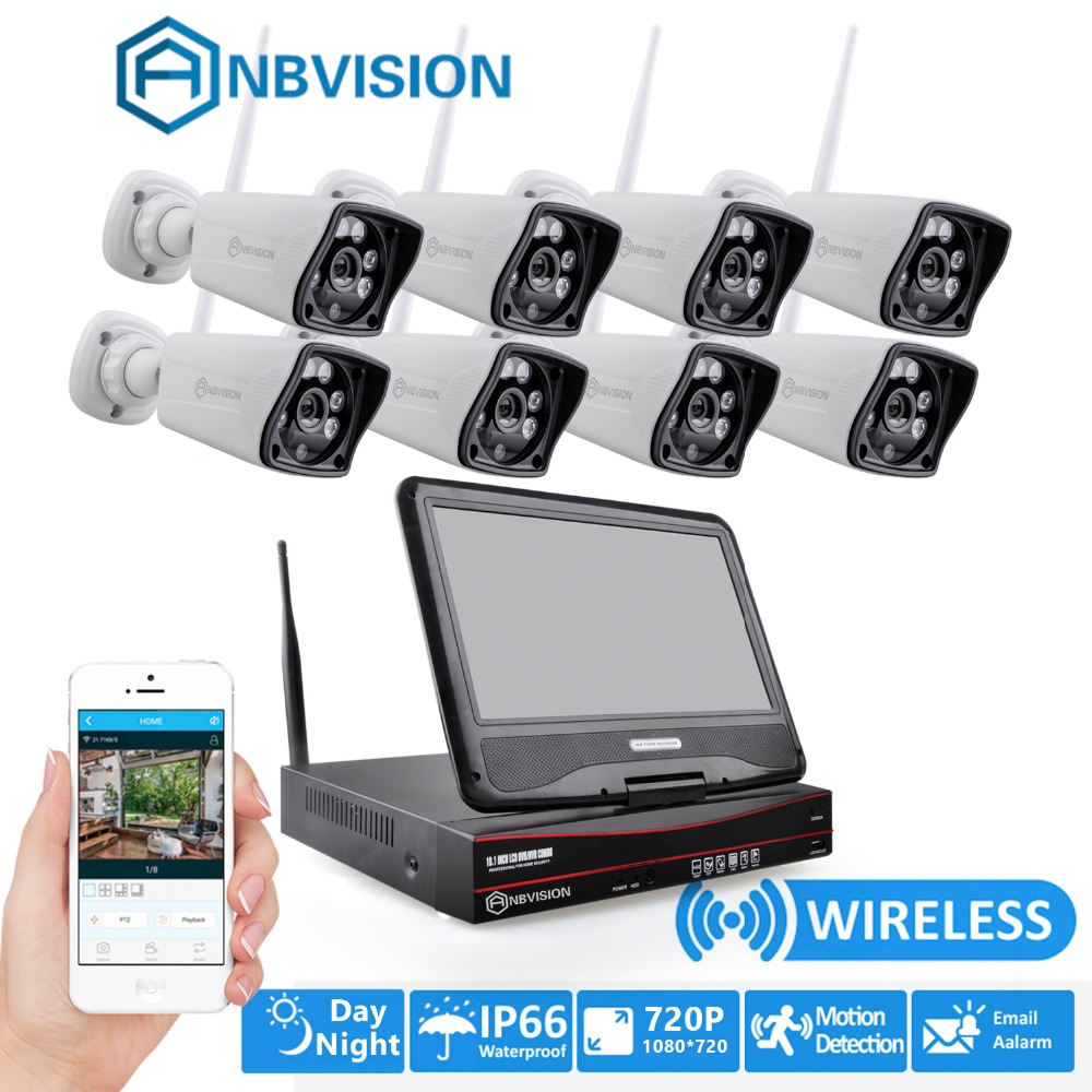 Anbvision Wireless wifi 8pcs CCTV Cameras System P2P IP Camera 720P home monitor video Surveillance kit with 10 inch NVR screen