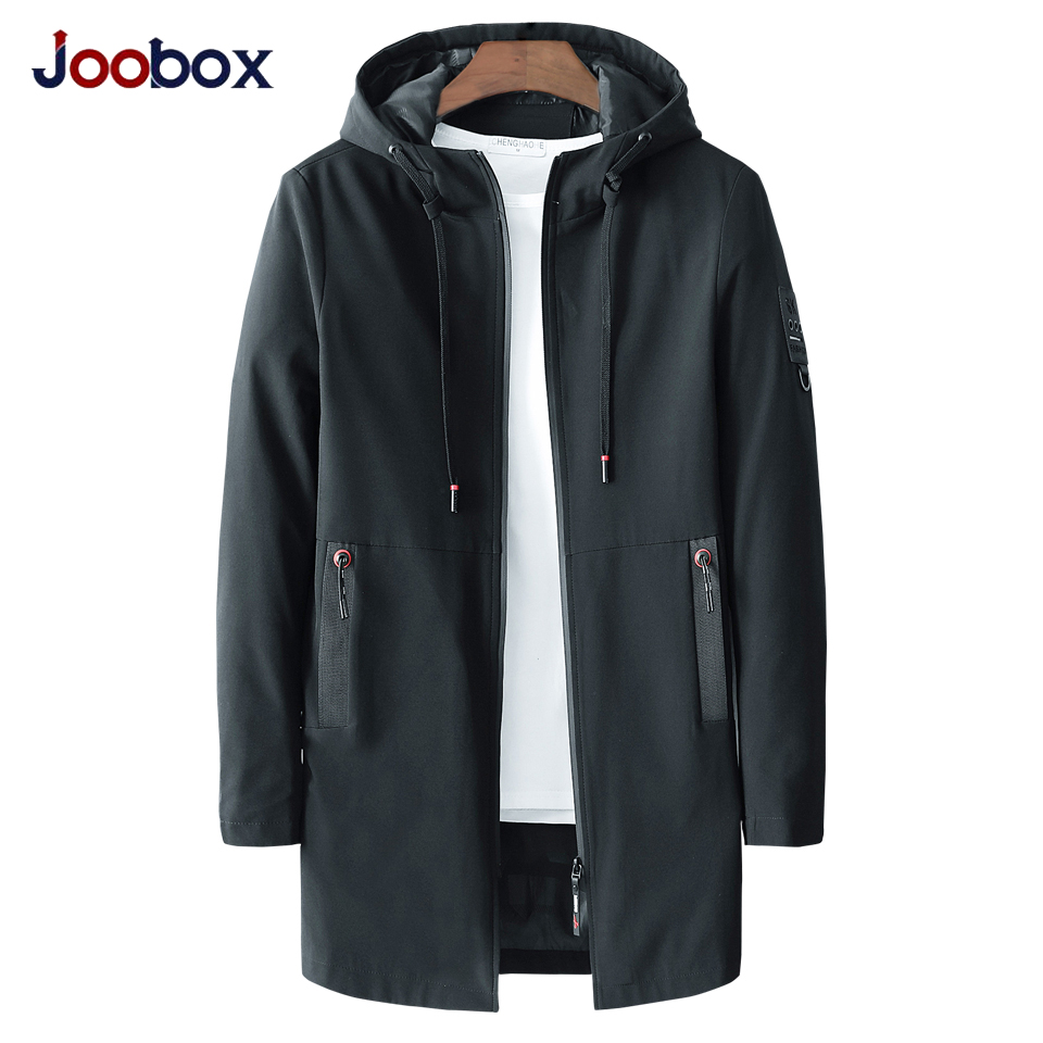 JOOBOX 2018 Autumn Casual Long Jacket Trench Coats Men Black Fashion Hooded Solid Elastic Windbreaker Pocket Trench Jackets Men