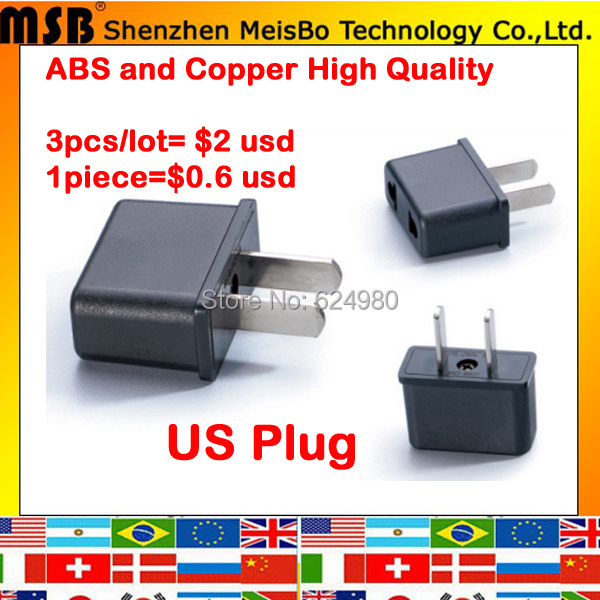 Universal USA 3pcs X EU to US Electrical AC power plug travel Converter Adapter Free shipping