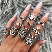 Tocona 14 sztuk/zestaw Vintage Antique kolor srebrny słońce księżyc kwiat urok Midi Finger zestaw pierścieni dla kobiet czeski Party biżuteria 6226