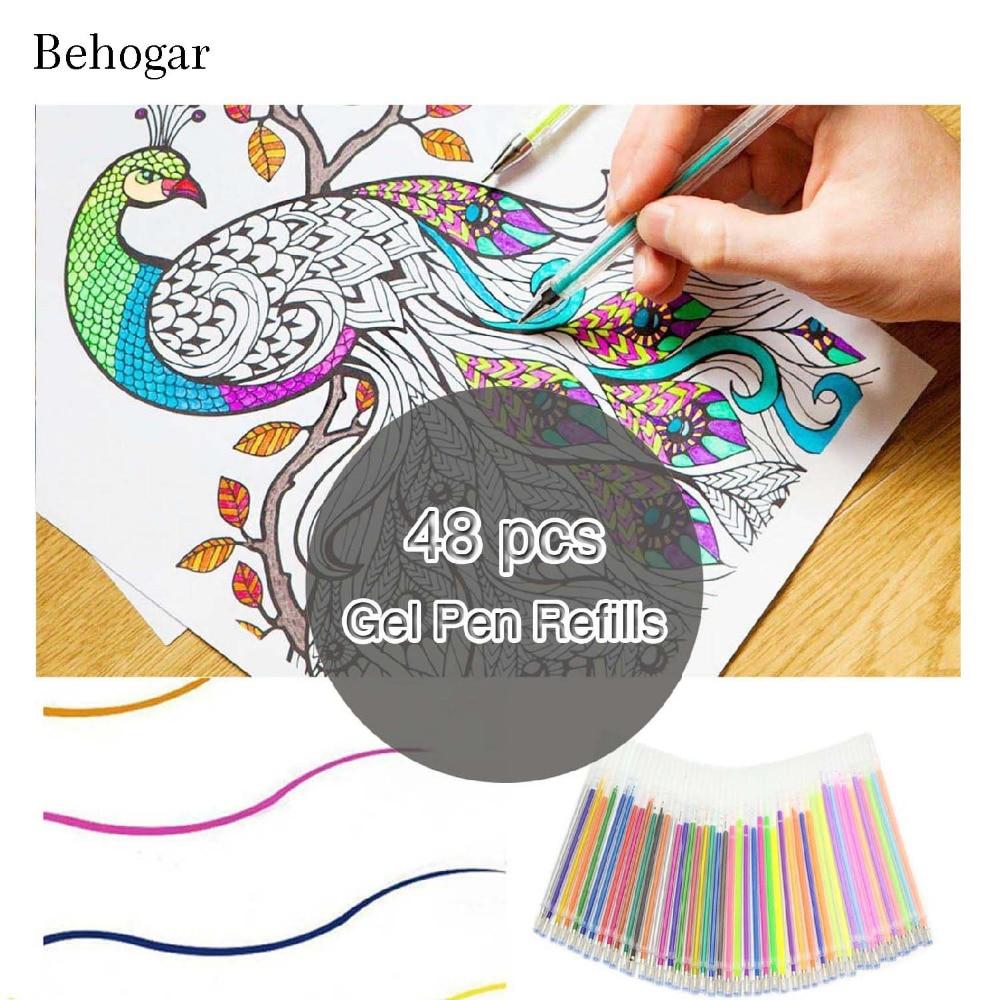 Behogar 48 unids colorido pluma del gel para adultos escuela ...