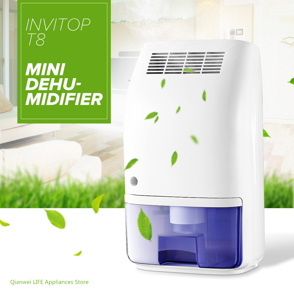 Invitop T8 Electric Mini Home Dehumidifier Air Dryer Moisture Absorber with 700ML Water Tank for Home Kitchen Office Car US Plug electric mute dehumidifier moisture absorber home air dehumidifiers for bedroom kitchen bathroom air dryer with led eu us plug