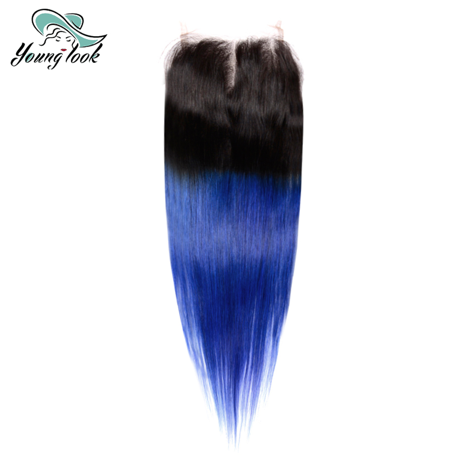 Young Look Brazilian Straight Lace Closure T1B/Blue Middle Part 4x4 Ombre Hair Bundles 100% Remy Human Hair Extensions Closure