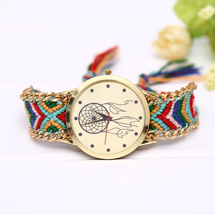 Fashion Multicolor Fabric Band Women's Quartz Wristwatches Folk-Custom Style Women's Bracelet Watch Handmade Artwork Reloj Mujer