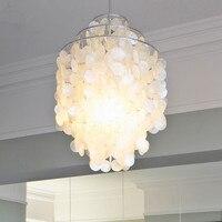Modern Chandelier Round Capiz shells Hanglamp Natural White Pendant Lamp for Living Room Bedroom Bar Fixture Indoor Lighting