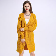 Amazon Euramerican foam sleeve twisted sweater women's jacket long, loose and large size thickened knitted sweater(China)
