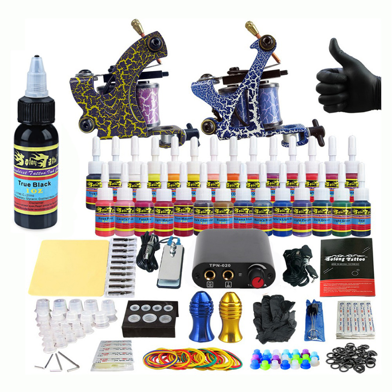 New Starter Beginner Complete Tattoo Kit Professional Tattoo Machine Kit Rotary Machine Guns 28 Inks Power Supply Grips SetNew Starter Beginner Complete Tattoo Kit Professional Tattoo Machine Kit Rotary Machine Guns 28 Inks Power Supply Grips Set