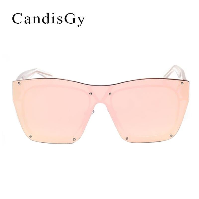 Surdimensionné Sans Monture De Luxe Femmes Hommes Miroir lunettes de Soleil  De Mode Marque Designer UV400 Rose Dame Lunettes de Soleil En Métal Femelle  ... a397326f6966