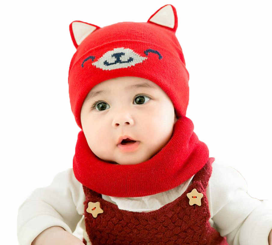 327452efc98a9 Baby Boy Caps Winter Girl Hats And Ring Scarves Set Cotton Kids Beanies Cap  Scarf Collar Children Hat Accessories Cartoon Suit