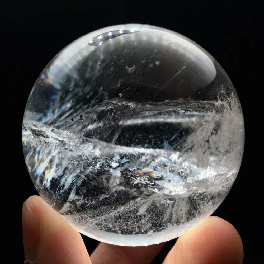 5cm Natural Clear White Crystal Quartz Sphere Ball Specimen Collection Healing