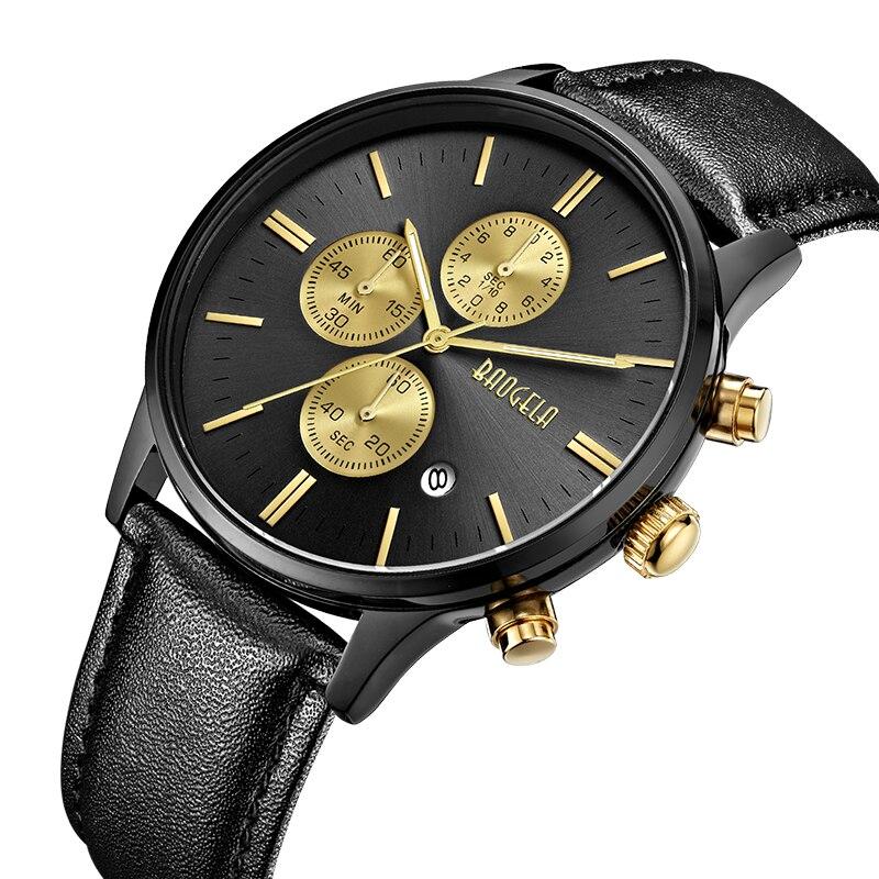 BAOGELA Neue Uhr Männer Mode Chronograph Quarz Uhr Leder Band Uhren Geschenke Für Männlichen Sport Relogio Armbanduhr