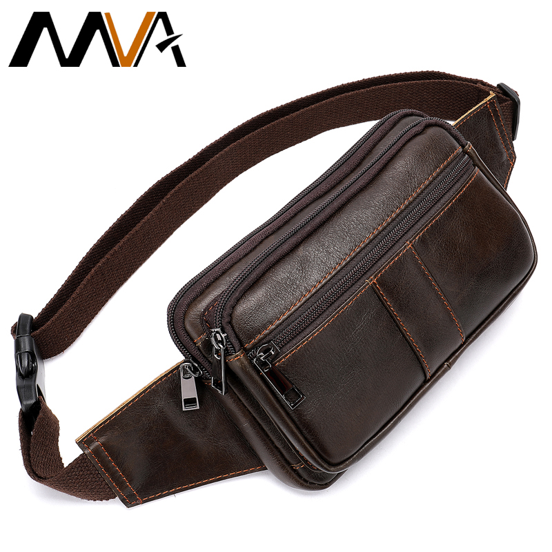 MVA Genuine Leather Men's Bag Solid Waist Bags Male Travel Men Waist Pack Zipper Phone Pouch Fashion Man Style Fanny Pack 8977