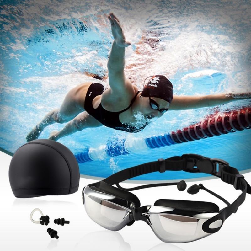 Three-piece HD Waterproof And Anti-fog Swimming Goggles + Swimming Cap + Earplug Nose Clip SetThree-piece HD Waterproof And Anti-fog Swimming Goggles + Swimming Cap + Earplug Nose Clip Set