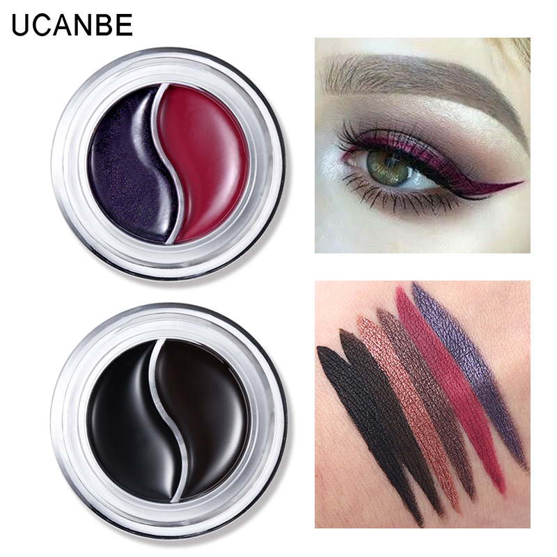 UCANBE Long Wear Gel Eyeliner Gel Cream Waterproof Smudge-proof Eyeliner Duo Shimmer Matte Eye Liner Makeup Quick-dry with Brush