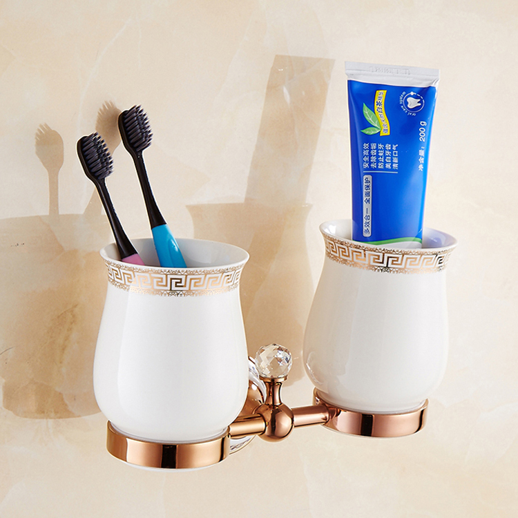 Classical Luxury Rose Gold Polished Brass Toothbrush Holder Ceramic Toothbrushing Cup Double Bathroom Accessories image