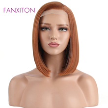 FANXITON Orange Wigs Synthetic Lace Front Wig For Black Women Straight Short Bob Wigs 12inch Glueless Synthetic Hair Wigs