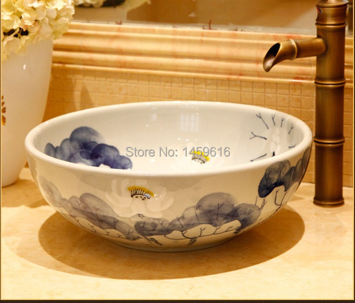 Round Bathroom Ceramic Counter Top Wash Basin Cloakroom Hand Painted Vessel Sink  Bowl 5001 In Bathroom Sinks From Home Improvement On Aliexpress.com ...