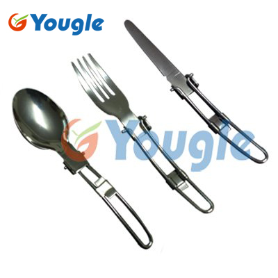YOUGLE Outdoor Stainless Steel Folded Fork Spoon Knife Picnic Camping Dinnerware Tableware 4 pcs stainless steel tableware fork knife spoon set