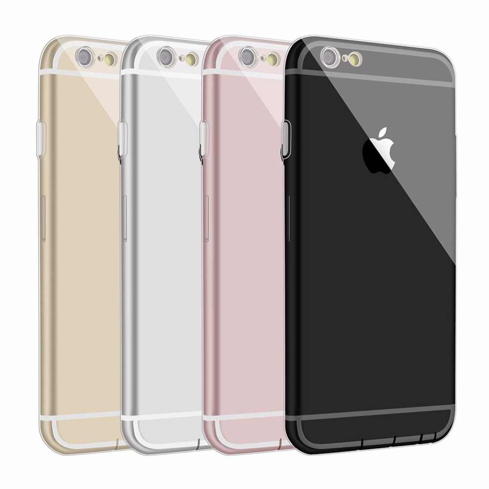 Silicone Case For Iphone 6 6S S 5S 7 8 PLUS X XR XS MAX Thin Dustproof Clear Phone Bag Case Cover Soft TPU Coque For Iphone 6