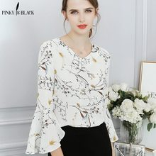 Pinky Is Black 2018 chiffon blouse shirt women Sexy summer white print Casual Butterfly sleeve cool top blusas