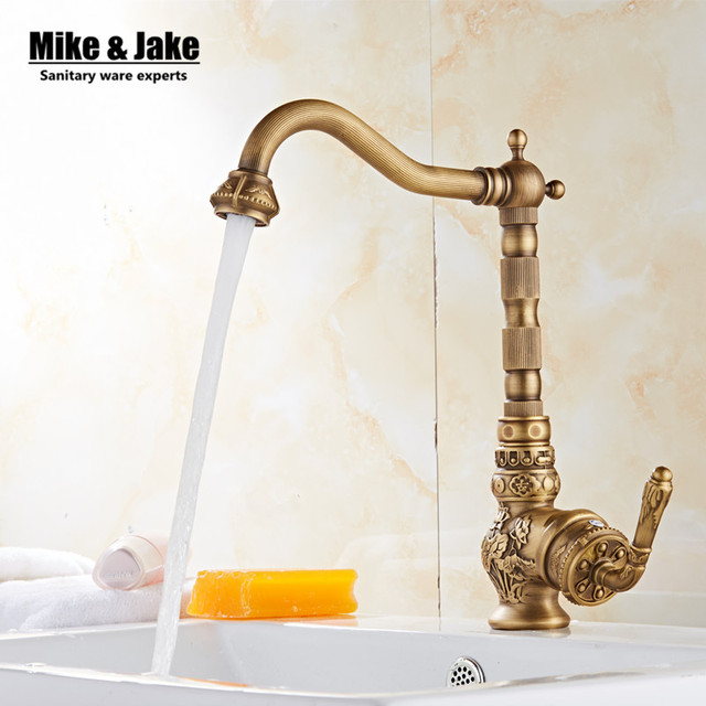 Single handle Antique brass bathroom basin faucet vintage basin ...
