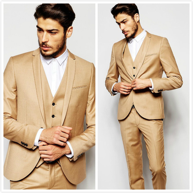 Gold Wedding Tuxedos Skinny Fit Mens Suits Jacket Groom Groomsmen Wear Tailor Made Prom Party