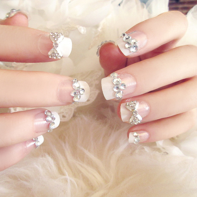 24PCS Nail art products Fake nails patch Bowknot is French manicure ...